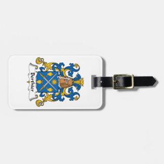 Escudo de la familia de Berthier Etiqueta Para Equipaje