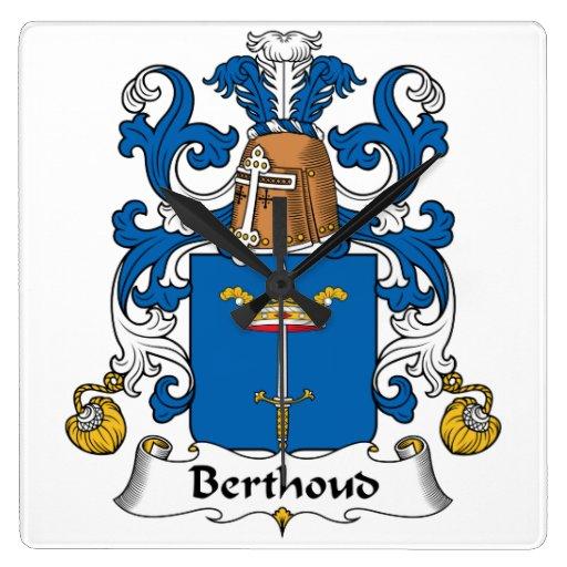 Escudo de la familia de Berthoud Reloj De Pared