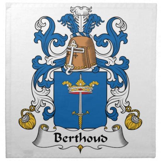 Escudo de la familia de Berthoud Servilleta Imprimida
