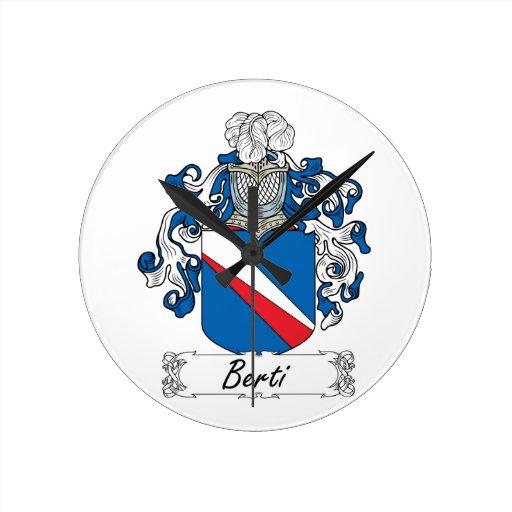 Escudo de la familia de Berti Reloj Redondo Mediano
