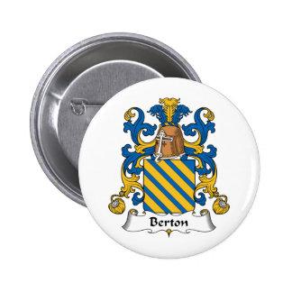 Escudo de la familia de Berton Pin Redondo De 2 Pulgadas