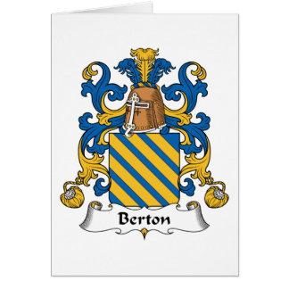 Escudo de la familia de Berton Tarjeta De Felicitación