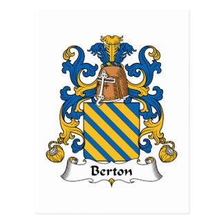 Escudo de la familia de Berton Tarjeta Postal
