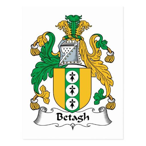Escudo de la familia de Betagh Tarjeta Postal