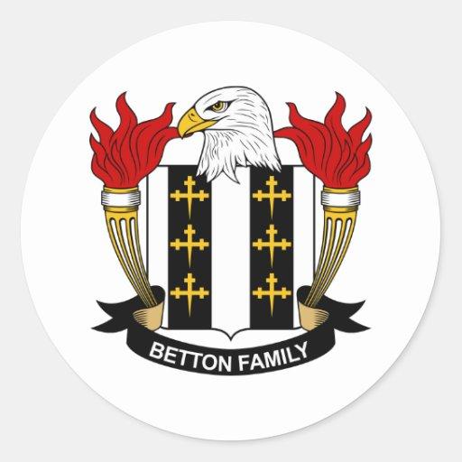 Escudo de la familia de Betton Pegatina Redonda
