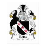 Escudo de la familia de Betts Tarjeta Postal
