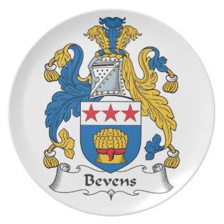 Escudo de la familia de Bevens Platos Para Fiestas