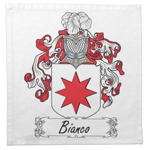 Escudo de la familia de Bianco Servilleta Imprimida
