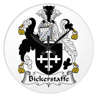 Escudo de la familia de Bickerstaffe Reloj Redondo Grande