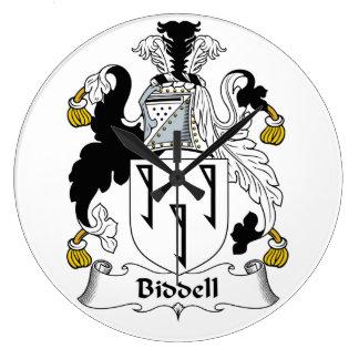Escudo de la familia de Biddell Reloj Redondo Grande