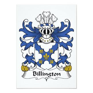 Escudo de la familia de Billington Invitación 12,7 X 17,8 Cm
