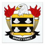 Escudo de la familia de Binney Invitación 13,3 Cm X 13,3cm