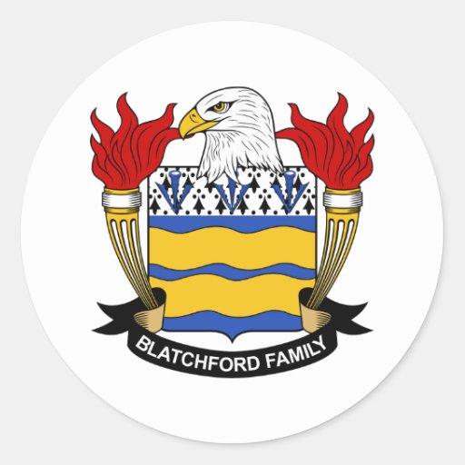 Escudo de la familia de Blatchford Pegatina Redonda