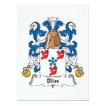 Escudo de la familia de Blin Invitación 16,5 X 22,2 Cm