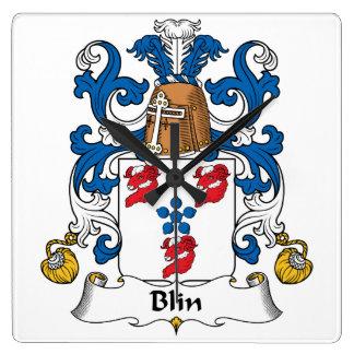 Escudo de la familia de Blin Reloj Cuadrado