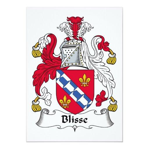 """Escudo de la familia de Blisse Invitación 5"""" X 7"""""""