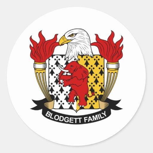 Escudo de la familia de Blodgett Pegatina Redonda