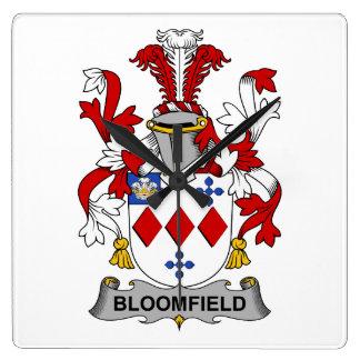 Escudo de la familia de Bloomfield Reloj Cuadrado