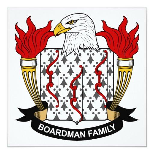 """Escudo de la familia de Boardman Invitación 5.25"""" X 5.25"""""""