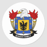 Escudo de la familia de Boker Pegatina Redonda