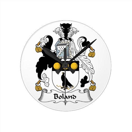 Escudo de la familia de Boland Reloj De Pared