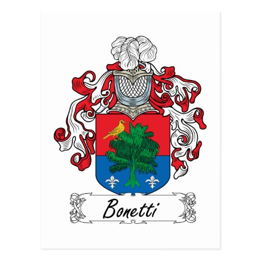 Escudo de la familia de Bonetti Postal