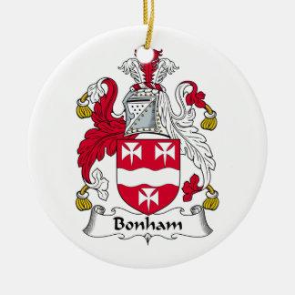 Escudo de la familia de Bonham Adorno Navideño Redondo De Cerámica