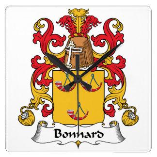Escudo de la familia de Bonnard Reloj Cuadrado