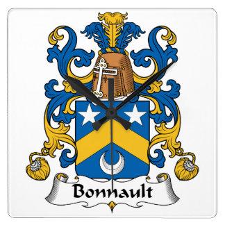 Escudo de la familia de Bonnault Reloj Cuadrado