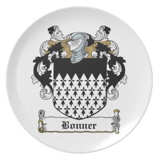 Escudo de la familia de Bonner Plato Para Fiesta