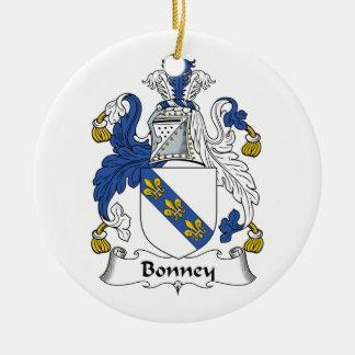 Escudo de la familia de Bonney Adorno Navideño Redondo De Cerámica