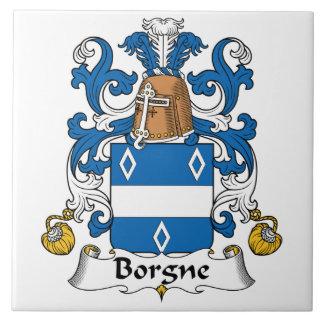 Escudo de la familia de Borgne Azulejo Cuadrado Grande