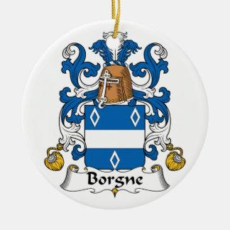 Escudo de la familia de Borgne Adorno Redondo De Cerámica
