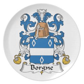 Escudo de la familia de Borgne Platos De Comidas
