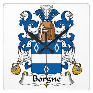 Escudo de la familia de Borgne Reloj Cuadrado