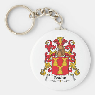 Escudo de la familia de Boulin Llavero Redondo Tipo Pin