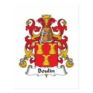 Escudo de la familia de Boulin Tarjeta Postal