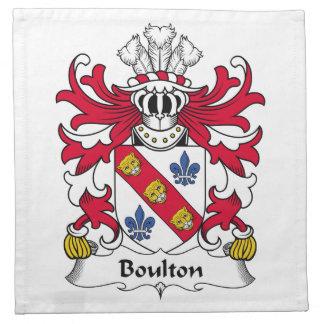 Escudo de la familia de Boulton Servilleta Imprimida