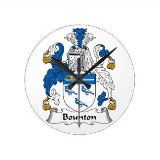 Escudo de la familia de Bounton Reloj De Pared
