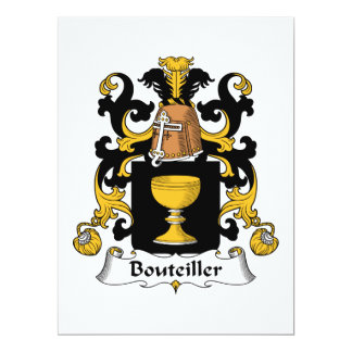 Escudo de la familia de Bouteiller Invitación 16,5 X 22,2 Cm