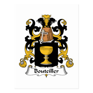 Escudo de la familia de Bouteiller Tarjeta Postal