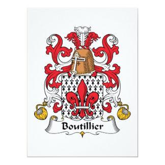 Escudo de la familia de Boutillier Invitación 16,5 X 22,2 Cm