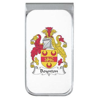 Escudo de la familia de Boynton Clip Para Billetes Plateado