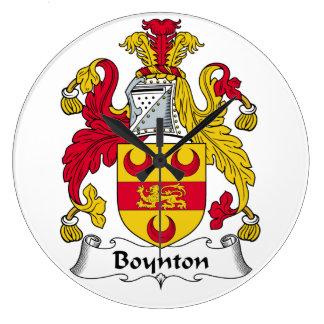 Escudo de la familia de Boynton Reloj Redondo Grande