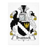 Escudo de la familia de Braddock Invitación