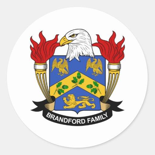 Escudo de la familia de Brandford Pegatina Redonda