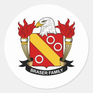 Escudo de la familia de Braser Pegatina Redonda
