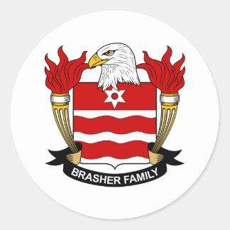 Escudo de la familia de Brasher Pegatina Redonda