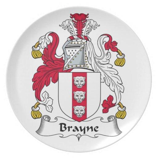 Escudo de la familia de Brayne Plato De Comida