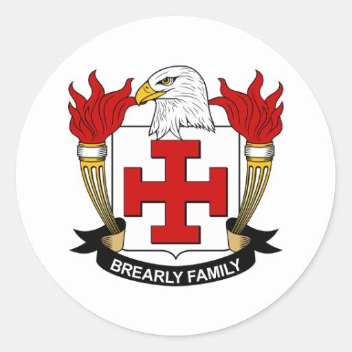 Escudo de la familia de Brearly Pegatinas Redondas